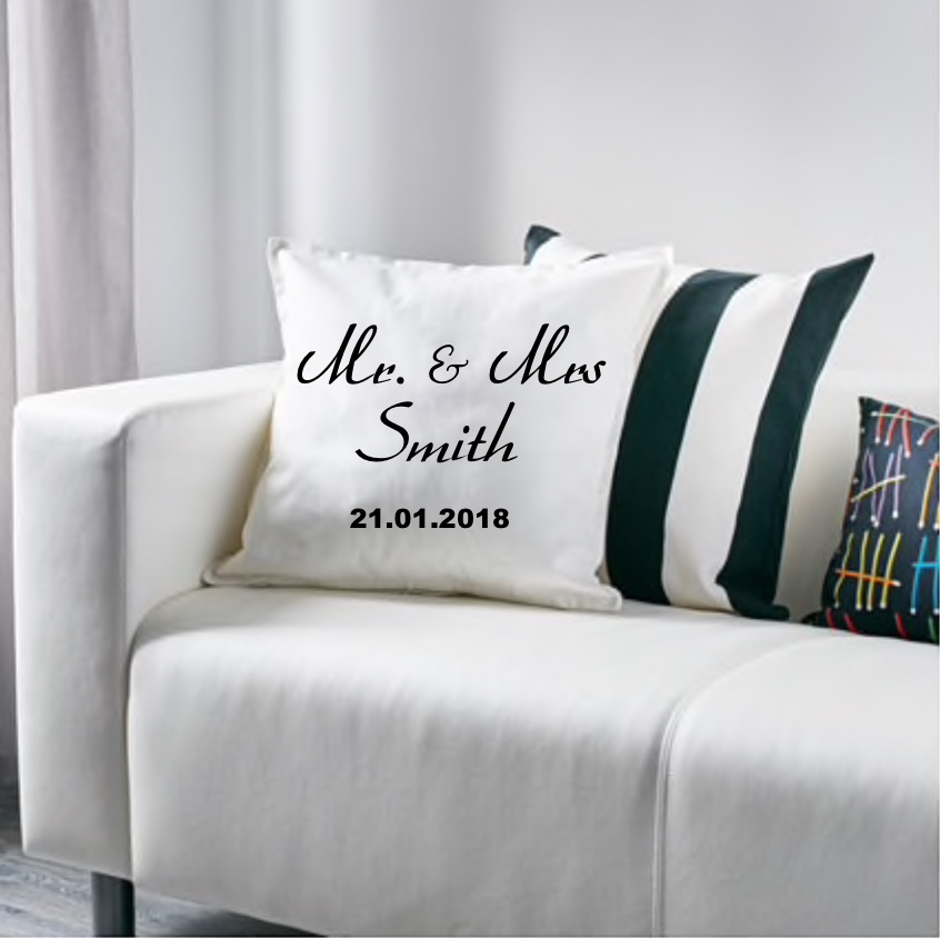 BR-Crafts Mr & Mrs Cushion Cover